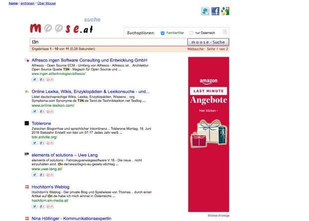 Warum in die Ferne schweifen? Moose durchsucht vor allem Webseiten aus Österreich. (Screenshot: Moose)
