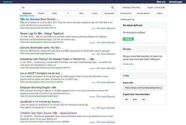 Google-Alternative: Die Meta-Suchmaschine Searx könnt ihr auch selbsthosten. (Screenshot: Searx.me)
