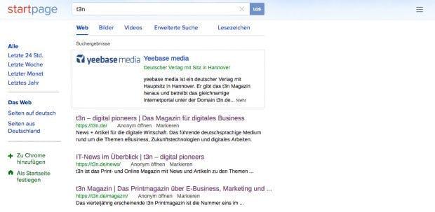 Die Google-Alternative Startpage schützte eure Privatsphäre. (Screenshot: Startpage)