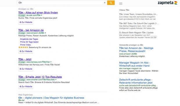 Zapmeta: Die Meta-Suchmaschine sammelt leider recht fleißig Nutzerdaten. (Screenshot: Zapmeta)