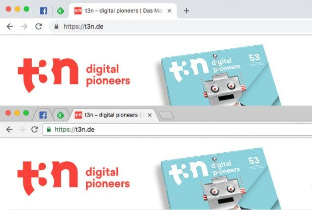 Neu gegen alt: Wer das neue Chrome-Interface nicht mag, der kann auch zum alten zurückkehren. (Screenshot: Chrome / t3n)