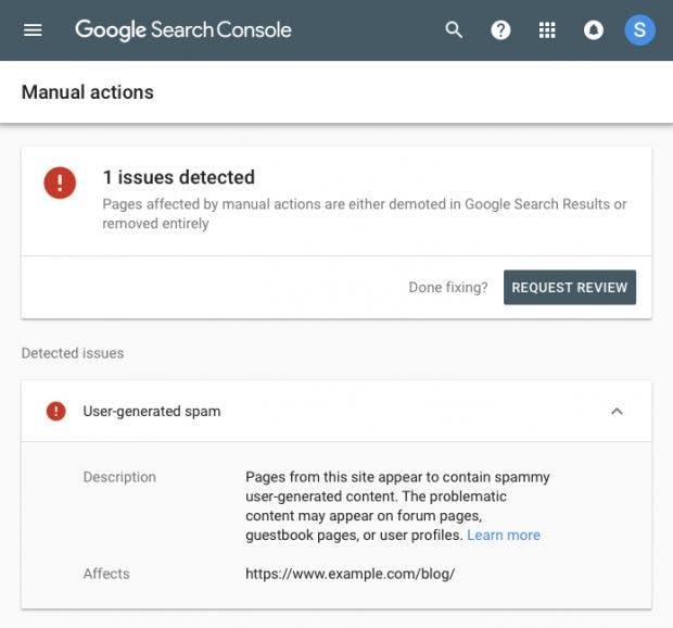 Google: Die neue Search Console zeigt jetzt auch manuelle Maßnahmen (Penalties) an. (Screenshot: Google)