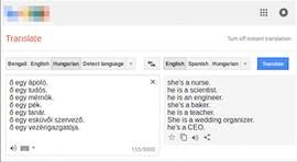 Google Translate: Sie ist eine Krankenschwester, er ist ein Wissenschaftler. (Screenshot: Google Translate / Marcelo O. R. Prates, Pedro H. C. Avelar, Luis Lamb)