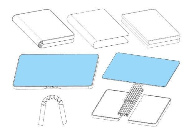 Erste Patentskizzen eines faltbaren Smartphones von Huawei. (Bild: Lets Go Digital)
