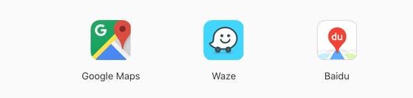 Außer Google Maps sollen auch bald Waze und Baidu mit Carplay genutzt werden können. (Screenshot: Apple)