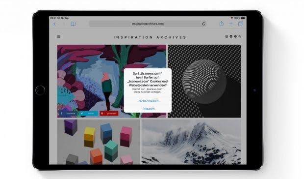 Mehr Sicherheit: Safari verhindert, dass Websites dich ohne deine Erlaubnis nachverfolgen können. (Bild: Apple)