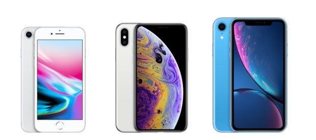 Das iPhone 8 (links) ist das mittlerweile kleinste iPhone im Angebot – danach kommen das iPhone Xs und das iPhone Xr mit 5,8- respektive 6,1-Zoll-Displays. (Screenshot: Apple)