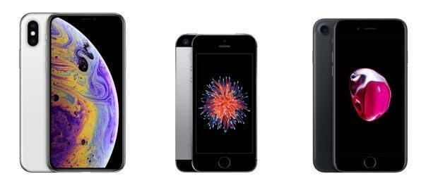 iPhones im Größenvergleich (v.l.n.r.): iPhone Xs, iPhone SE und iPhone 7 (Screenshot: Apple)
