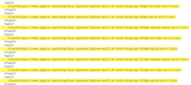 Die neuen iPhones werden mit mindestens drei Speicheroptionen angeboten. (Screenshot: 9to5Mac)