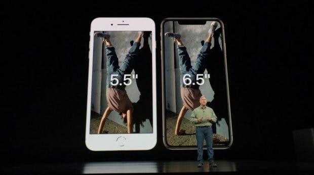 iPhone Xs Max: Nicht viel größer als ein iPhone 8 Plus. (Screenshot: t3n.de)