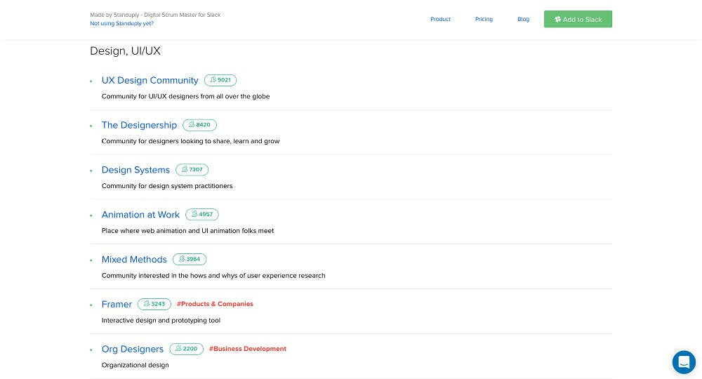 Im Slack-Gruppen-Verzeichnis von Standuply finden sich Chats zu allen möglichen Themen. (Screenshot: standuply.com/slack-chat-groups)