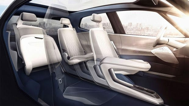 Der Innenraum des VW ID – in etwa so geräumig wie ein Passat. (Bild: VW)
