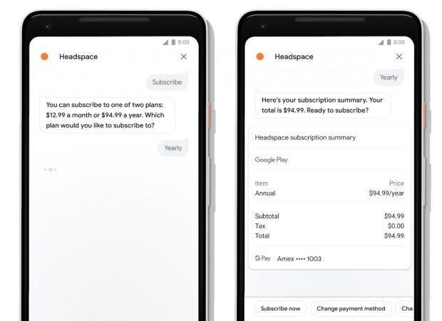 Das neue Interface des Google Assistant auf Smartphones ermöglicht auf den Kauf von digitalen Gütern. (Bild: Google)