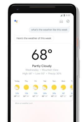 Das neue Interface des Google Assistant auf Smartphones rückt das Wetter ins rechte Licht. (Bild: Google)