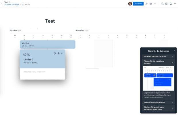 Beim ersten Anlegen einer Timeline unterstützt Dropbox mit einem Tutorial. Die neue Funktion erinnert an Gantt-Charts. (Screenshot: Dropbox / t3n)
