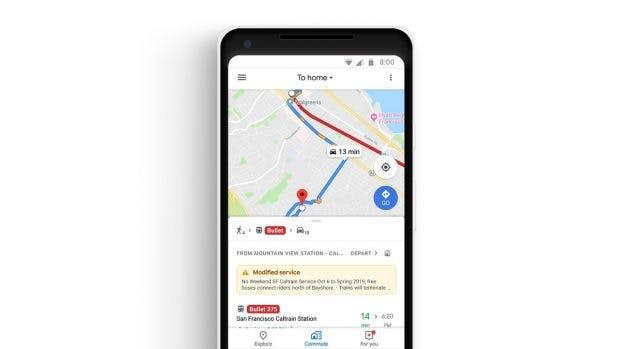 Google Maps unterstützt auch multimodale Verkehrsangebote. (Bild: Google)