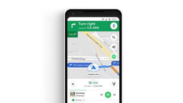 Google Maps erhält eine Musiksteuerung für Spotify und weitere Dienste. (Bild: Google)