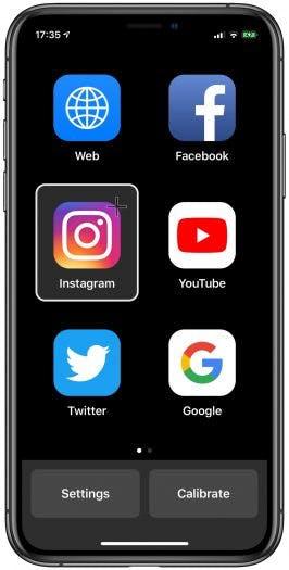 Der Startbildschirm der App bietet einige Favoriten an, über das Web-Icon lässt sich jede beliebige Website ansteuern. (Screenshot: Hawkeye Access / t3n)