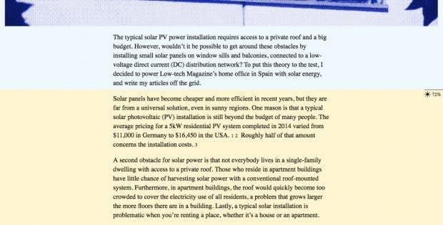 Low-Tech Magazine: Der Akkustand des Servers ist integraler Bestandteil des Seitendesigns. (Screenshot: solar.lowtechmagazine.com/t3n)