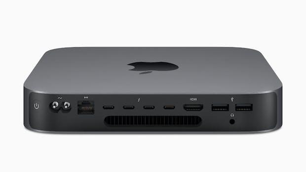 Mac Mini (2018) von hinten. (Bild: Apple)