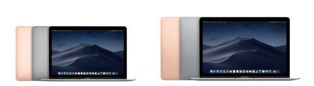 Macbook (2017) vs. Macbook Air (2018): So massiv wie auf dem Bild dürften die Größenunterschiede in Realität nicht sein. (Bild: Apple)