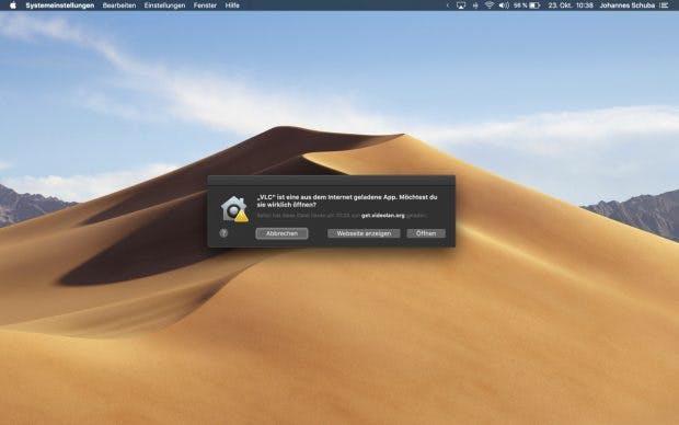 Die in macOS integrierte Gatekeeper-Funktion soll künftig nur noch Apps akzeptieren, die neben der Signierung mit der Developer-ID auch bei Apples Notary Service waren. (Screenshot: macOS / t3n)