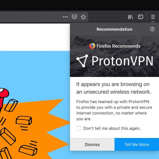 Die Testnutzer bekommen direkt in Firefox den Hinweis auf Proton VPN. (Screenshot: Mozilla)