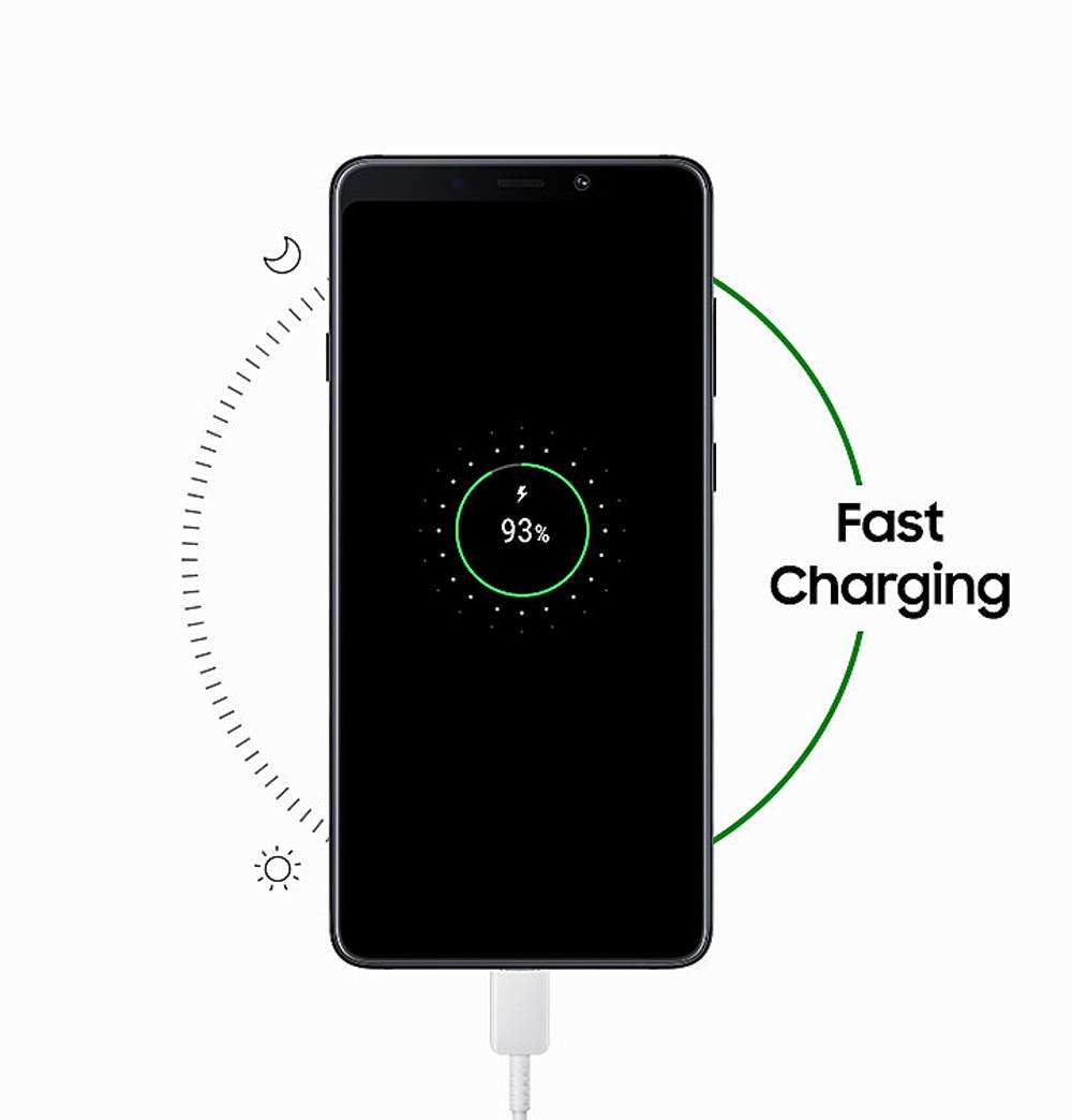 Fast- und Wireless-Charging unterstützt das Galaxy A9. (Bild: Samsung)