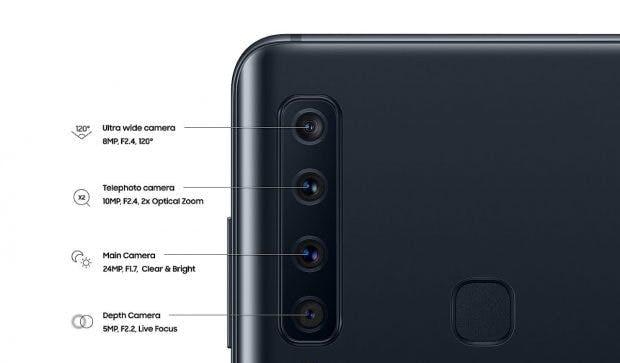 Samsung Galaxy A9 (2018): Vier Kameras, vier Einsatzzwecke. (Bild: Samsung)