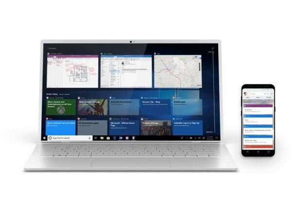 Windows 10: Mit der Windows-Timeline für Smartphones erhaltet ihr überall Zugriff auf eure zuletzt geöffneten Daten und Websites. (Bild: Microsoft)