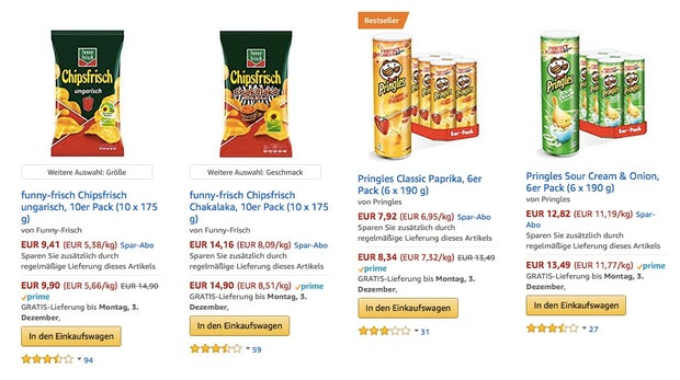 Buy-Box bei Amazon in den Suchergebnissen