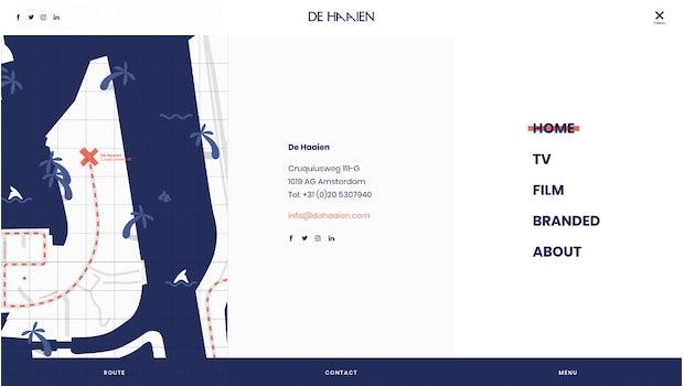 """Die Videoproduktion <a href=""""https://www.dehaaien.com/"""">De Haaien</a> aus Amsterdam unterteilt ihr Menü in drei Spalten mit zentralen Navigations-Punkten und den Kontaktdaten. (Screenshot: t3n.de/De Haaien)"""