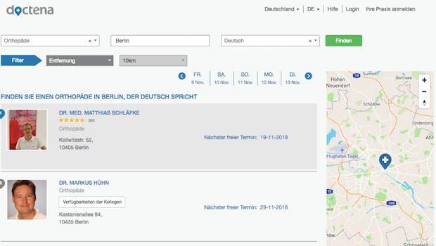 Bei einem Schnelltest scheint Doctena auch ganz gut zu funktionieren: Man findet auf Anhieb rund 20 Orthopäden in Berlin, auch wenn man dann doch nicht bei allen einen Termin buchen kann. (Screenshot: t3n)
