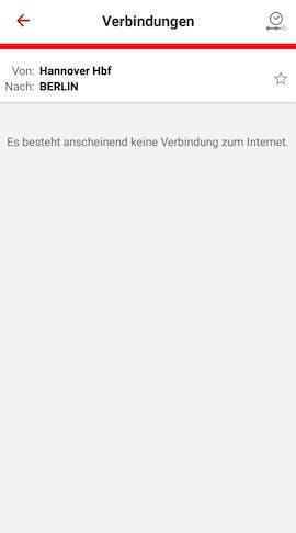 Ohne Internet kennt der DB-Navigator keine Verbindungen mehr. Selbst bei den Favoriten ist Schluss. (Screenshot: t3n.de)