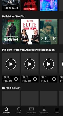 Netflix zeigt die heruntergeladenen Titel selbstverständlich ohne Problem an. Doch durch die Bibliothek oder eure Liste kann nicht gescrollt werden. Teilweise wird die Bibliothek sogar ohne Bilder dargestellt. (Screenshot: t3n.de)