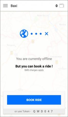 Baxi funktioniert on- wie offline. Hat der Nutzer keine Internetverbindung, läuft die Server-Kommunikation per SMS. (Screenshot: Baxi)