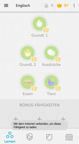 Mit Duolingo hat es sich ausgelernt sobald ihr offline seid. Sprachlektionen können nicht gestartet werden. (Screenshot: t3n.de)