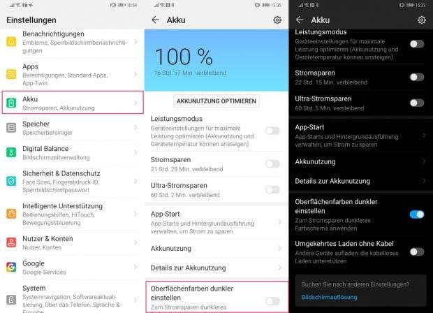 EMUI 9: So aktiviert ihr den Dark-Mode bei Huawei. (Screenshots: t3n.de)