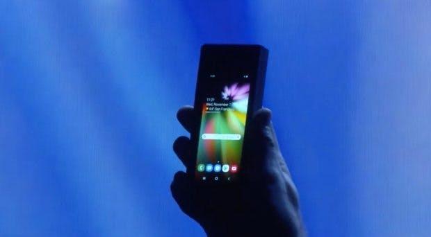 Das Samsung-Foldable im zusammengeklappten Zustand. (Screenshot: t3n.de; Samsung)