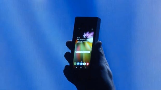 Das Samsung-Foldable im zusammengeklappten Zustand. (Screenshot: t3n/Samsung)