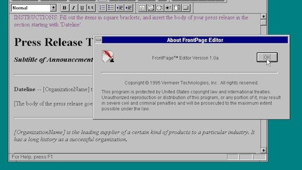 Frontpage wurde kurz nach dem Release von Microsoft übernommen. (Screenshot: Frontpage 1.0 / WinWorld)