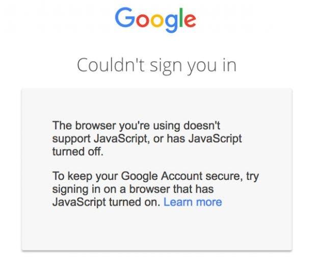 Ohne JavaScript gibt's auch kein Gmail: Die Google-Anmeldung setzt zukünftigt zwingend JavaScript voraus. (Screenshot: Google)