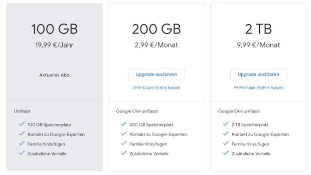 Die Tarife und Preise von Google One – eine 500-GB-Option wäre wünschenswert gewesen. (Screenshot: t3n,de)