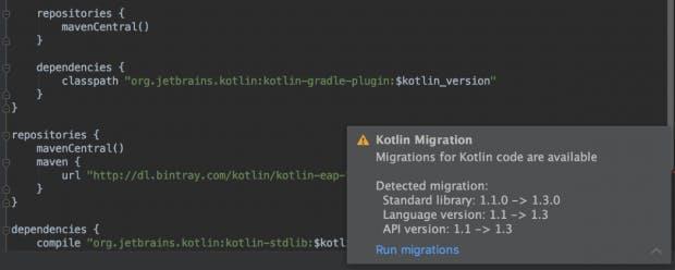IntelliJ bietet bei einigen Code-Stellen eine automatische Migration zum neuen Kotlin 1.3. (Screenshot: Jetbrains)