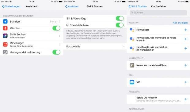 In den iOS-12-Einstellungen können die Kurzbefehle eingesehen werden. (Screenshot: t3n.de)