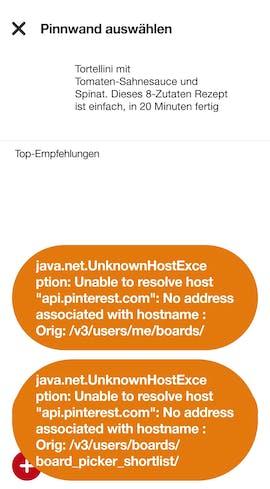 Möchte man ohne Internetverbindung einen gecachten Inhalt einer Pinnwand hinzufügen, kommt das einem Totalausfall gleich. Dem Nutzer werden debugähnliche Fehlermeldungen gezeigt. (Screenshot: t3n.de)