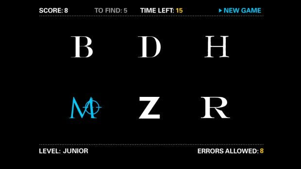 """Typografie-Game: Bei """"I shot the serif"""" kommt es auf die Schnelligkeit an. (Screenshot: tothepoint.co.uk / t3n)"""