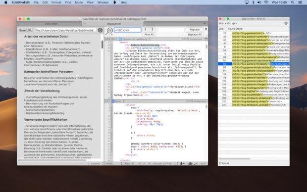 Auch eine Live-Web-Vorschau für HTML, CSS und JavaScript ist mit an Bord von Subethaedit. (Screenshot: The-Coding-Monkeys)
