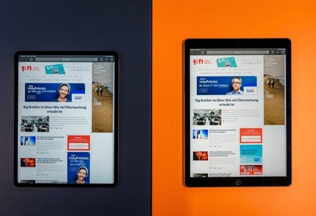 Links: das iPad Pro mit 12,9 Zoll aus 2018, rechts das Vorgängermodell. (Foto: t3n)