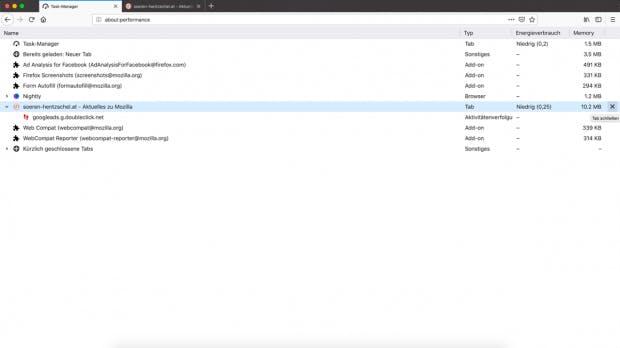 So wird der neue Task-Manager in Firefox 64 aussehen. (Screenshot: Firefox/soeren-hentzschel.at)